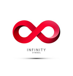 Infinity symbol red endless icon isolated on vector