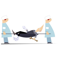 Injured worker and two physicians with stretcher vector