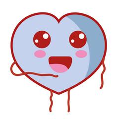 kawaii cute happy heart love vector image