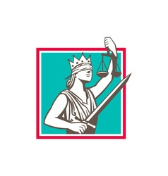 Lady Justice Raising Scales Sword Square Retro vector image