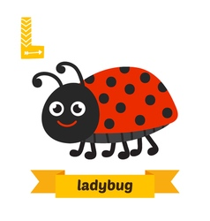 Ladybug L letter Cute children animal alphabet in vector