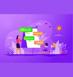 language learning camp concept vector image