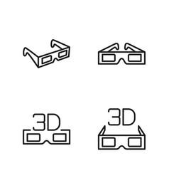 Line 3d glasses icons set on white background vector