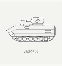 Line flat plain icon infantry assault vector