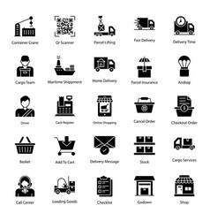 Logistic services solid icons pack vector