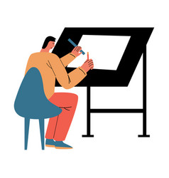 Man architect sitting backwards and making project vector