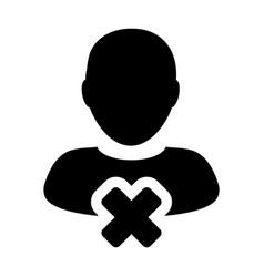 Man icon remove male user account person profile vector