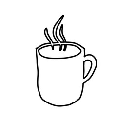 Monochrome contour hand drawn with hot coffee mug vector