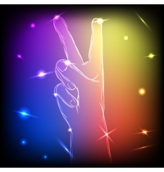 Neon Hand Peace vector