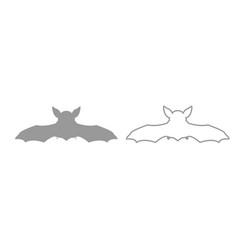 night bat grey set icon vector image