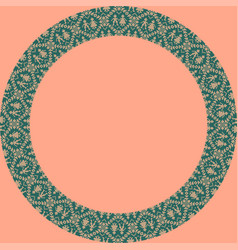 Norwegian traditional ornament round frame with a vector