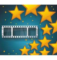 Old Cinema banner with gold stars and film tape vector image