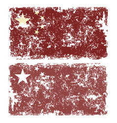 old scratched flag of china vector image
