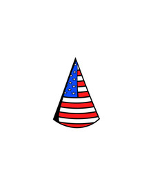 party hat in the usa flag colors icon cartoon vector image