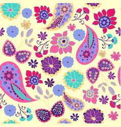 pattern of paisley leaves and flowers summer vector image