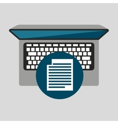 Person working laptop document social media vector
