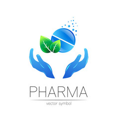 Pharmacy symbol with green leaf and hands vector