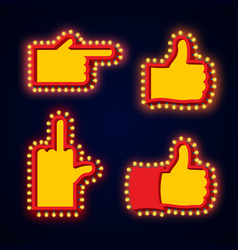 pointers hand glowing lights set retro thumbs up vector image