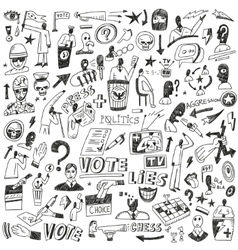 Politics - doodles set vector