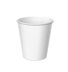 Realistic disposable small plastic cup vector