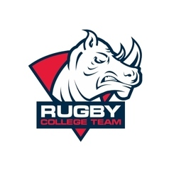 rhino head sport logo Rugby badge template vector image