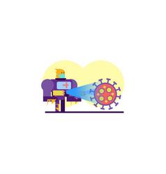 Robot disinfectant spray coronavirus cartoon vector