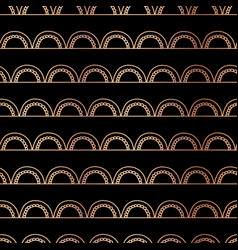 rose gold foil doodle arcs background black vector image