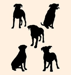 rottweiler dog silhouette 01 vector image