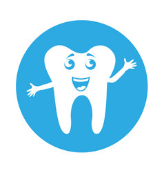 Round icon tooth cartoon vector