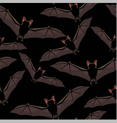 seamless halloween pattern with flying bat vector image