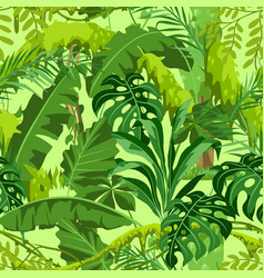 Seamless pattern with jungle plants vector