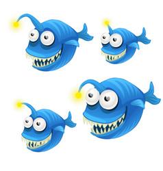 Set cartoon fish isolated on white background vector