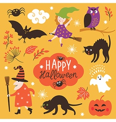 Set cute halloween elements vector