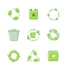 set environmental labels recyclable triangle sign vector image