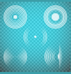 Set isolated transparent sound waves vector