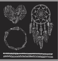 set of boho elements with dreamcatcher vector image