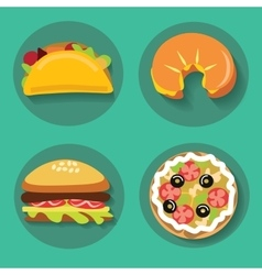 Set of icons fast food pizza croissant burger vector image