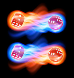 set of two red dice in fire vector image