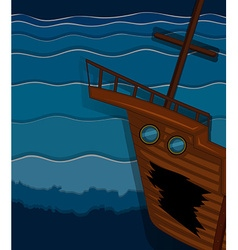 Shipwrecked under the ocean vector