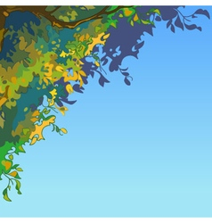 Sky background with lush multi colored leaves vector