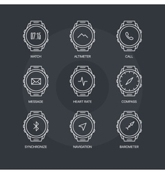 Smart watch functions icons set on dark background vector