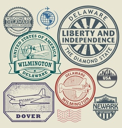 Stamp set Delaware vector