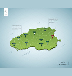 Stylized map lithuania isometric 3d green map vector