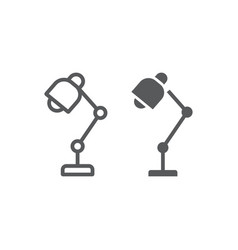 table lamp line and glyph icon office and work vector image
