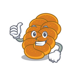 Thumbs up challah character cartoon style vector