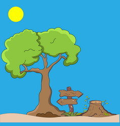 tree stump and sign vector image