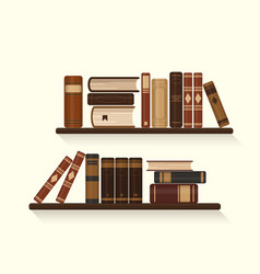 two bookshelves with old brown books vector image
