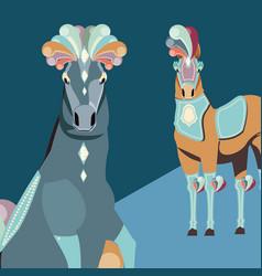 Two elegant horses animals carnival circus vector