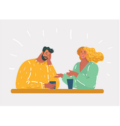 Unhappy couple or uninteresting story talking vector