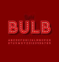 Vintage light bulb font design broadway style vector
